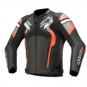 Alpinestars Atem V4 Leather Jacket Nero/grigio/rosso fluo