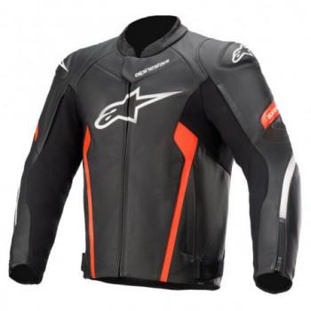 Alpinestars Faster V2 Leather Jacket Nero/bianco/rosso fluo