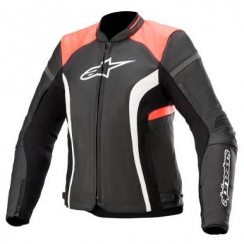 Alpinestars Stella Kira V2 Leather Jacket Nero/bianco/rosso