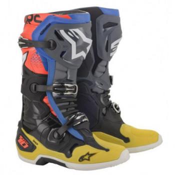 Alpinestars Tech 10 Cross Boots Nero/giallo/blu/rosso fluo