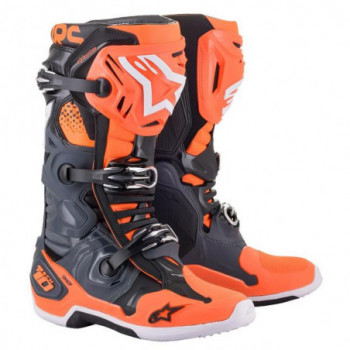 Alpinestars Tech 10 Cross Boots Cool Gray/Orange Flourescent