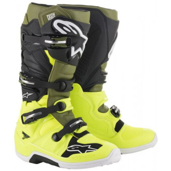 Alpinestars Tech 7 Cross Boots Giallo fluo/verde/nero
